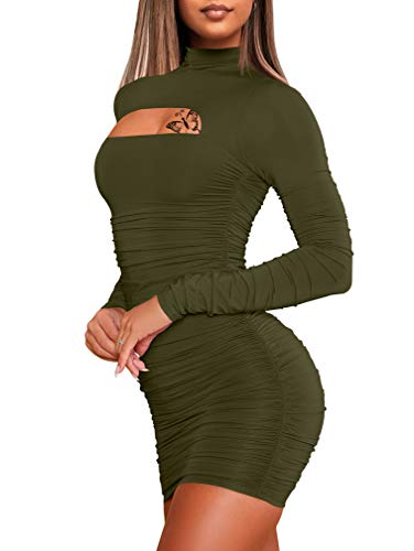 WHONE Women's Sexy Long Sleeve Cut Out Bodycon Ruched Party Club Mini Dress