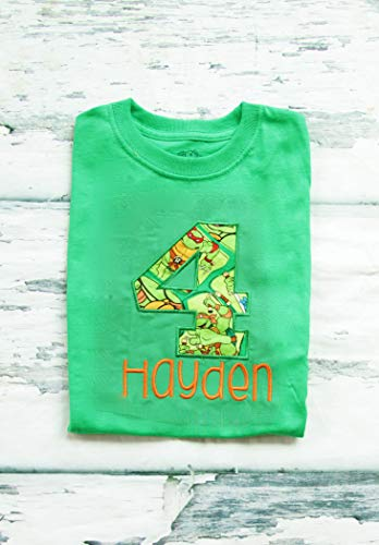 Boy fourth birthday shirt - Ninja Turtles, 4th birthday (Embroidered) Parent shirts are available