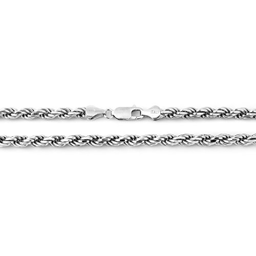 Solid Sterling Silver Rhodium Plated 4mm Rope Chain Necklace, ()