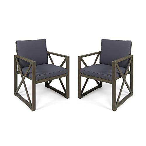 Great Deal Furniture Hazel Outdoor Acacia Wood Club Chairs with Cushions, Set of 2, Gray and Dark Gray ()