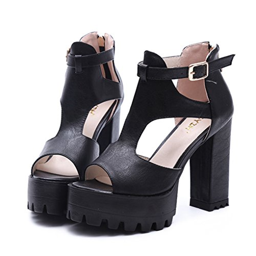 Dovaly Women Sandals Gladiator Punk Rock High Platform Buckle Thick Heels Big Size High Heels