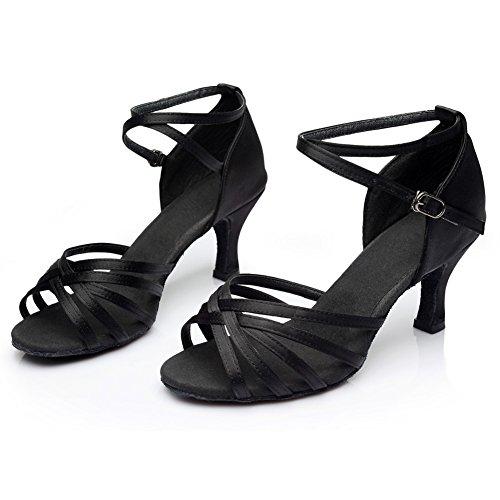 Para 7cm De Negro Mujer Tacón zapatos Baile Latino medio Vashcame Alto tacón RF7Zqw0xx