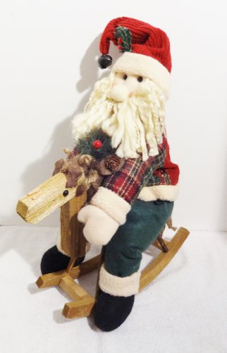 - Vintage Santa Claus On a wooden Rocking Horse