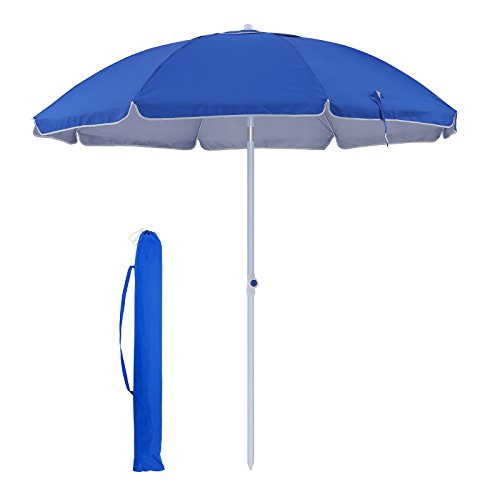 SONGMICS UPF 50+ 7 ft Heavy Duty Beach Umbrella, Silver UV Coating Portable Outdoor Umbrella Canopy with Tilt Mechanism, for Beach, Camping, Sports, Gardens, Balcony and Patio-Blue, UGPU07BU