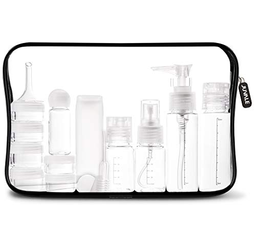 (16 Pack Plastic Airline Travel Accessories Bottles Set - Holds Toiletries, Lotions, Liquids, Shampoos - Includes Spray Bottles, Pump Bottles, Squeeze Bottles, Jars, Insertion Tools & Travel Bag)