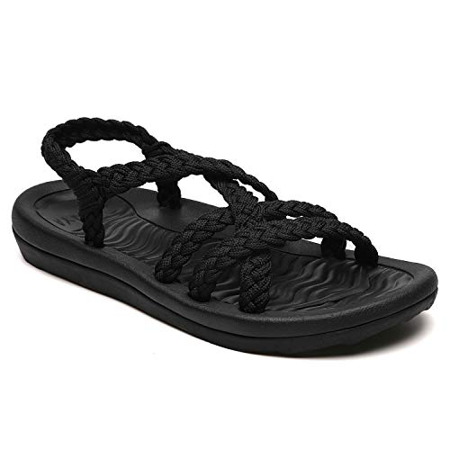 MEGNYA Women's Comfortable Flat Walking Sandals with Arch Support Waterproof for Walking/Hiking/Travel/Wedding/Water Spot/Beach. ZDKDME01-Black-6-W6