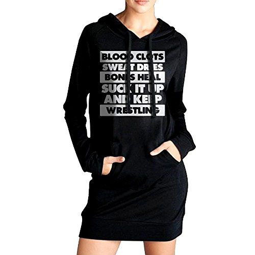 PINPINTA Womens Sweatshirt Hoodie Dress Suck It Up and Keep Wrestling Causal Hoodie Dress by PINPINTA