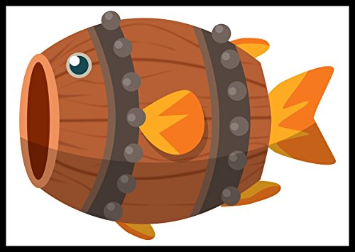 New Sticker Decal Cute Silly Funny Pun Shooting Fish In A Barrel Cartoon Animal
