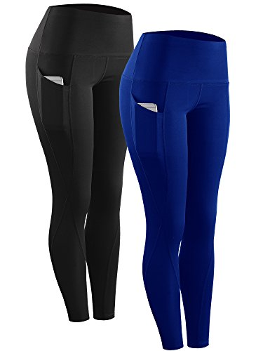 Neleus 2 Pack Tummy Control High Waist Running Workout Leggings,9017,2 Pack,Black,Blue,US M,EU L