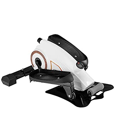 Goplus Desk Elliptical Trainer Portable Mini Magnetic Elliptical Stepper Machine Resistance Adjustable Compact Strider Fitness and Exercise Equipment for Home and Office