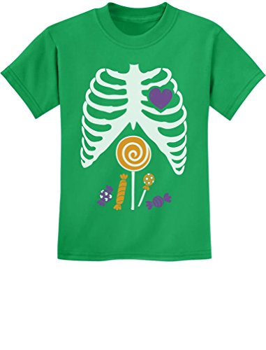 Children Candy Rib-cage X-Ray Skeleton Halloween Kids T-Shirt Small Green