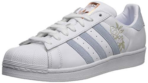 adidas Originals Women's Superstar Running Shoe, White/Periwinkle/Copper Metallic, 7 M US