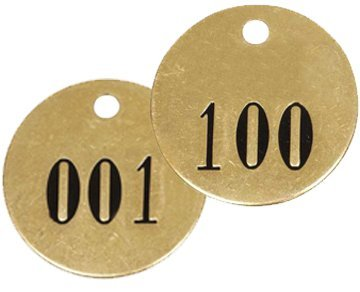 """Numbered 1-1/2"""" Solid Brass Round Valve Tags 1-100"""