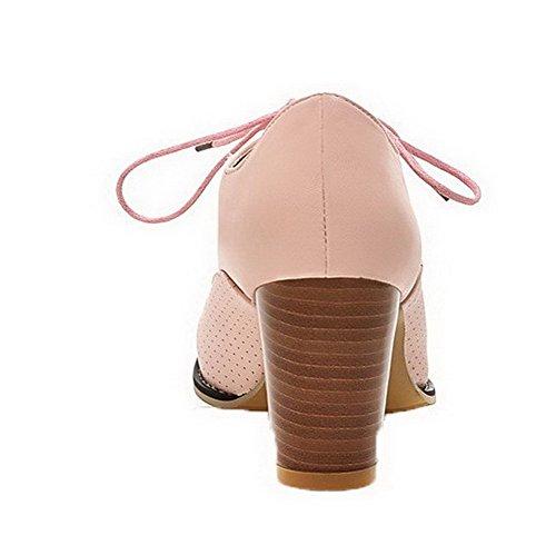 Amoonyfashion Donna Tacco Alto Pu Lace-up Chiuso Punta Rotonda Pompe-scarpe Rosa