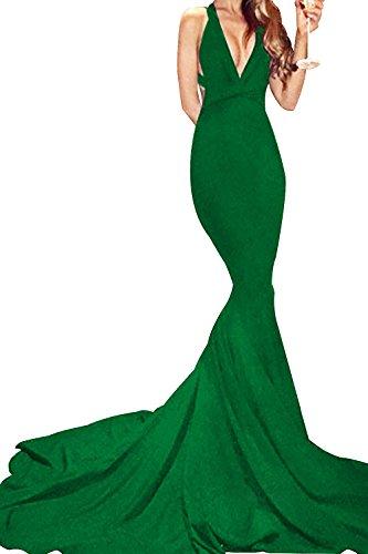 UTAMALL Sleeveless Mermaid Evening Gown Dress V-Neck Satin Sweep Train Prom Party Dress
