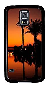 durable Samsung S5 covers Sunset Palm Tree PC Black Custom Samsung Galaxy S5 Case Cover