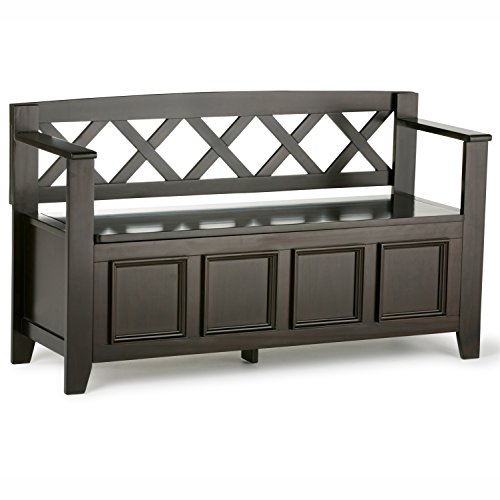 Simpli Home Amherst Solid Wood Entryway Storage Bench, Dark Brown