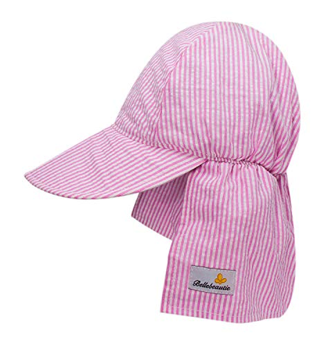 BELLEBEAUTIE Baby Flap Sun hat Chemical Free Breathable Cotton UPF 50+ Sun Protection Kids Hat w/Neck Flap(10 Colors)