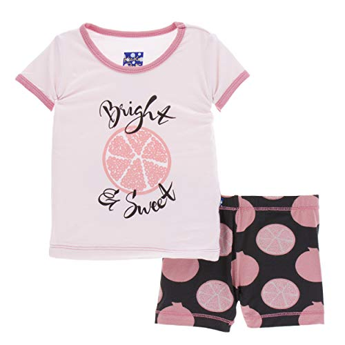 (Kickee Pants Little Girls Print Short Sleeve Pajama Set with Shorts - Zebra Pomegranate, 5 Years)
