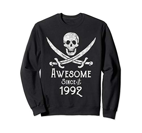 Awesome Since 1992 Vintage Pirate Skull Sword Adult Birthday Sweatshirt