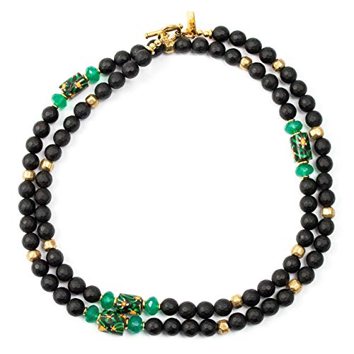 rade Bead, Green Chalcedony, Matte Black Onyx Necklace - 33 Inches Long Handmade Necklace by Miller Mae Designs ()