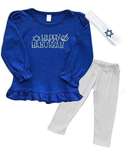 Hanukkah Dress - Girls Hanukkah Outfit - Happy Hanukkah (Royal, 12-18m)