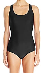 Adoretex Womens Polyester Conservative Lap with Soft Bra Swimsuit (FP005) - Black - 10