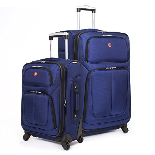 SwissGear 2 PC Spinner Wheel Black Suitcase Set - Softshell & Lightweight (Blue) by SwissGear