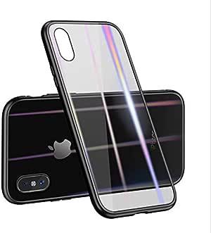 جراب لهاتف Apple iPhone X / غطاء مغناطيسي مع غطاء زجاجي معدني مقوى لهاتف Apple Iphone X