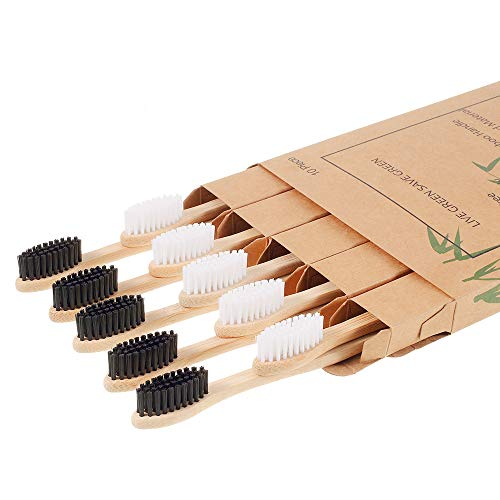10 pack- Nuduko Biodegradable Natural Bamboo Toothbrushes, BPA Free Bristles, Eco-Friendly, Compostable, Organic, Vegan, Green Toothbrushes