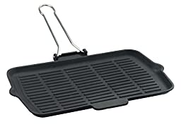 Lava ECO Enameled Cast-Iron 8-1/4 x 14 inch Grill Pan with Wire Handle, Slate Black