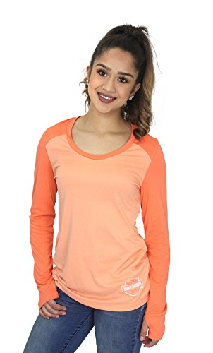 Harley Davidson Punch - Harley-Davidson Womens Molten Called B&S Back Keyhole Orange Long Sleeve (Small)