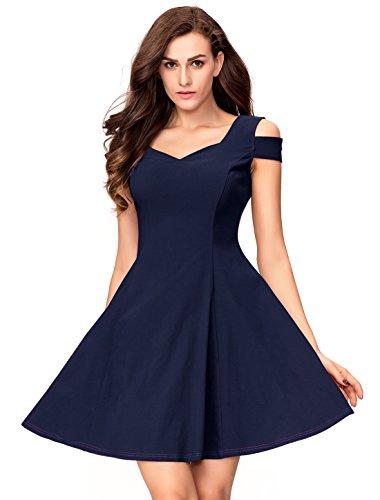 InsNova Cocktail Dresses For Women's Navy Blue Off Shoulder Simple Dress