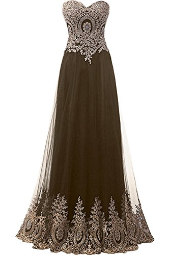 Herzform Schokolade Neu Lang Damen Partykleider Applikation Ivydressing Abendkleider Ballkleider PFqZ5W46w