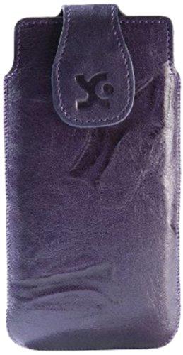 Original Suncase Echt Ledertasche für Apple iPhone 5 / 5S /5C wash-dunkellila