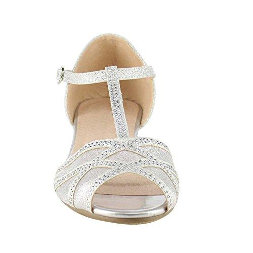 Beston Gb81 Femmes T-strap Peep Toe Slip Sur Sandale Plate Argent