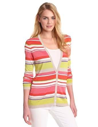 Anne Klein Women's Petite Stripe Long Sleeve V-Neck Cardigan, Carnelian Multi, Large