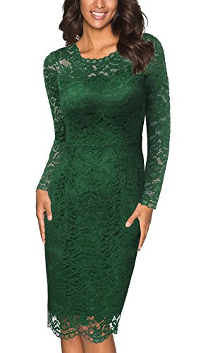 Gray Lace Dress (Joy EnvyLand Women Crewneck Sheath Lace Cocktail Prom Party Lined Midi Dress, Green, X-Large)