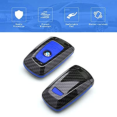 TANGSEN Smart Key Fob Case for BMW 1 3 4 5 6 7 Series GT3 GT5 M5 M6 X3 X4 3 4 Button Keyless Entry Remote Personalized Protective Cover Plastic Carbon Fiber Pattern Blue Silicone: Automotive