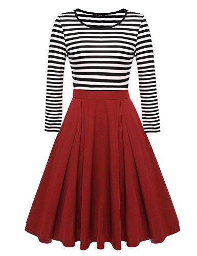 Beyove Women's Vintage Patchwork Swing Dress Scoop Neck Stripes Cocktail Party Dress Red 1 S (Party Christmas Dresses Juniors)