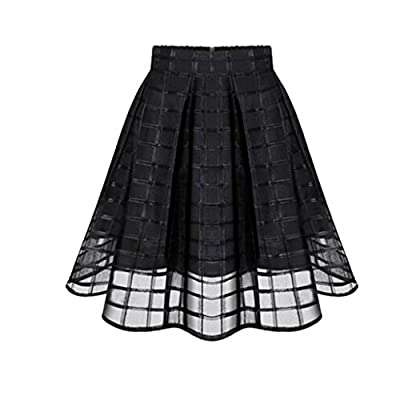 Hot Sale! Women Fashion High Waist Zipper Organza Knee Length Skirt Pleated Flare A Line Tulle Skater Skirts