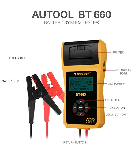 AUTOOL Automotive Battery Tester 12V/24V Car Battery System Tester Cranking and Charging Test ystem Analyzer Scan Tool with Printer (BT-660) by AUTOOL (Image #3)