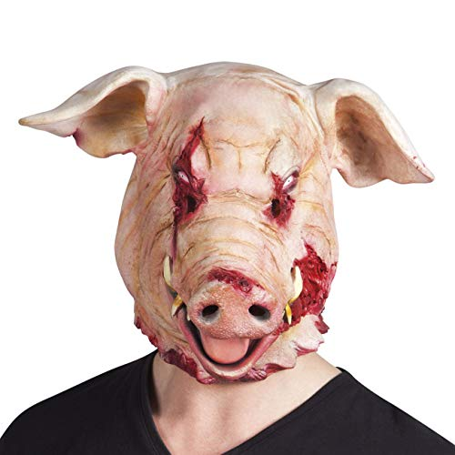 Scary Pig Mask Paper Meche - Boland Horror Pig Latex Halloween Mask