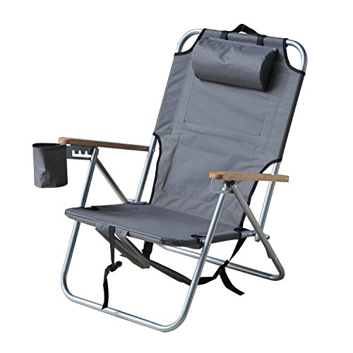 Outsunny Adjustable Backpack Beach / Camp Chair w/ Drink Holder & Storage Pockets - Grey - Folding Wooden Camp Chair