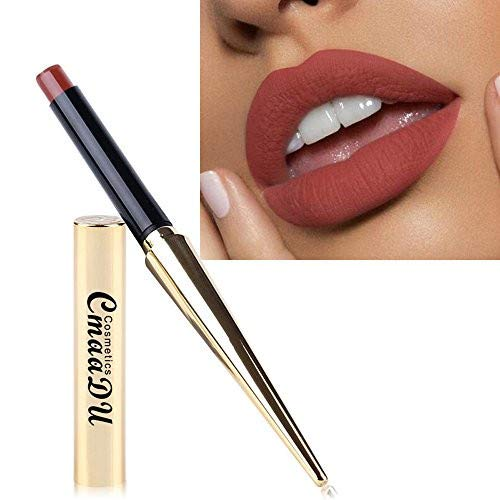 UOKNICE On Sale Lipstick Brush Retractable,Under 10 Dollars Waterproof Lipstick Matte Pumpkin Color Lipstick Eat Earth Rich Vitamin E Moistu ()