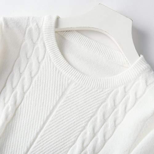Per Maglione Donna M Cotone color Mifusanahorn Maniche Size Warm White Perfetto Lunghe Sottile Confortevole White Knit Mantenere Girocollo A Di Da qXxqOHw