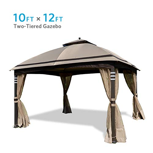Coastshade 10' x 12' Outdoor Gazebo Tent Soft Top Shelter Double Tier Canopy, Waterproof and UV Coated with Mosquito Netting for Patio, Yard, Party, BBQ (Ginger)