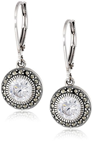 [Judith Jack Sterling Silver, Cubic Zirconia, and Marcasite Drop Earrings] (Judith Jack Marcasite)