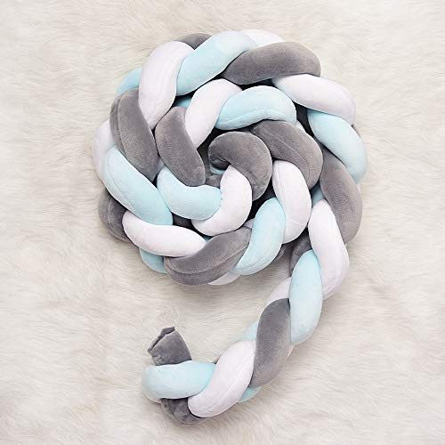 White + Blue + Gray, 150cm QINGLOU cot Bumper Braid Pillow,Baby Head Guard Bumper Knot Braid Pillow Cushion Decorative Pillow for Baby Nursery Crib Bedding