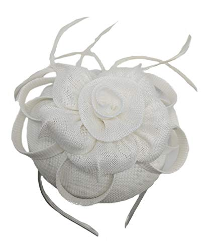 Biruil Women's Fascinator Hat Imitation Sinamay Feather Tea Party Pillbox Flower Derby (ZB White) -